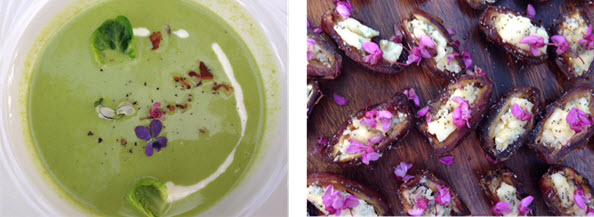 Minted Pea Soup - Dates stuffed with blue cheese and decorated with Redbud flowers