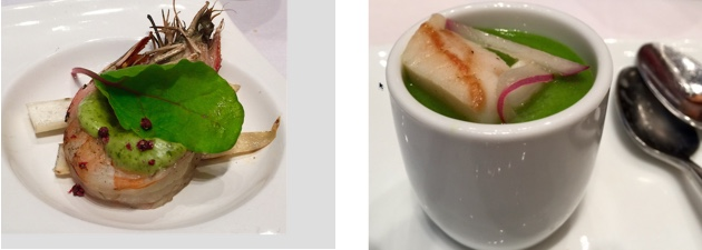 Wild Spot Prawns from the Northwest Coast - Cold Broccoli Soup with Citrus Marinated Scallops from the Northern Woodlands