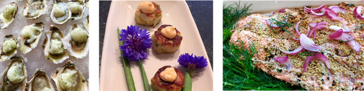 Rappahannock Oysters with Cucumber Sorbet - Mini crab cakes and cornflowers - Mustard Crusted Salmon and Dill