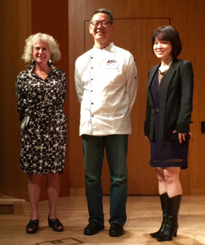 The evening's panel. Bonny Wolf (l), Kaz Okochi (center), Yoko Isassi (right)