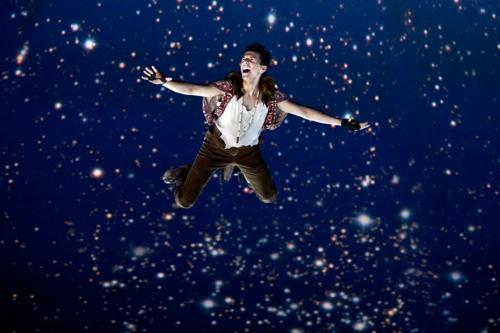 Dan Rosales takes flight as Peter Pan in PETER PAN at the Threesixty Theatre. Photo credit: Jeremy Danie