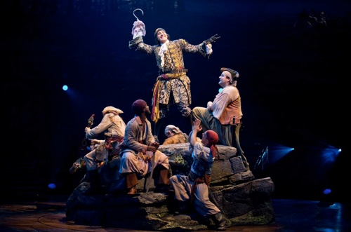 Hook (Stephen Carlile) and his pirates in PETER PAN at the Threesixty Theatre. Photo credit: Jeremy Daniel