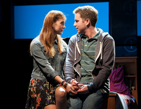 (L to R) Laura Dreyfuss as Zoe and Ben Platt as Evan in the world-premiere musical Dear Evan Hansen at Arena Stage at the Mead Center for American Theater July 10-August 23, 2015. Photo by Margot Schulman.