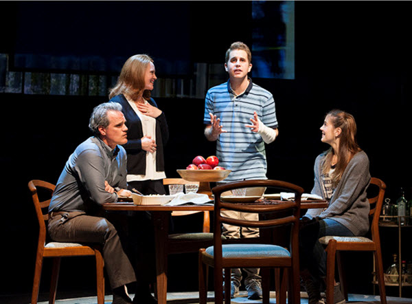 (L to R) Michael Park as Larry, Jennifer Laura Thompson as Cynthia, Ben Platt as Evan and Laura Dreyfuss as Zoe in the world-premiere musical Dear Evan Hansen at Arena Stage at the Mead Center for American Theater July 10-August 23, 2015. Photo by Margot Schulman.
