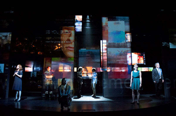(L to R) Ben Platt as Evan, Michael Park as Larry, Jennifer Laura Thompson as Cynthia and Laura Dreyfuss as Zoe in the world-premiere musical Dear Evan Hansen at Arena Stage at the Mead Center for American Theater July 10-August 23, 2015. Photo by Margot Schulman.