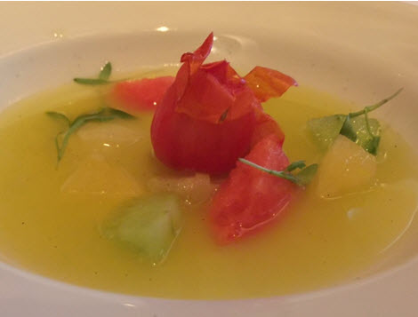 Yellow Watermelon Soup at Elizabeth's Gone Raw Friday dinners
