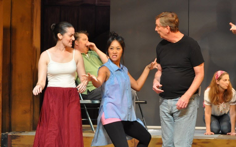 (left to right) Natalie Fox as Daisy Coates, Tom Flatt as Vernon Volker (in the back in green), Kat Sanchez as Susannah Huntsmen, Ted Culler as Richfield Hawksley, and Abigail Ropp as Mary Pierre (on knees). Photos by Matthew Randall, Allrand Photography