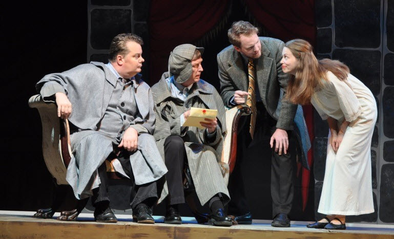 (left to right) Tom Flatt as Vernon Volker, Ted Culler as Richfield Hawksley, Michael Dobbyn as Jack Morris, Abigail Ropp as Mary Pierre. Photos by Matthew Randall, Allrand Photography