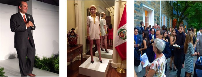 Peruvian Ambassador Luis Miguel Castilla introduces the fashion designers on the catwalk - The latest fashions are presented at the Peruvian Embassy - The crush at the Peruvian Embassy's bash