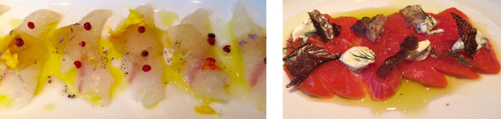 (left-to-right) Fluke crudo with pickled watermelon rind and pink peppercorns - Sockeye Salmon with salmon skin cracklings.