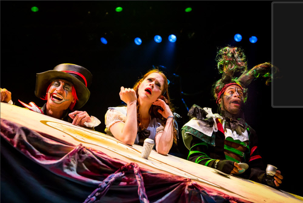 Dallas Tolentino as Mad Hatter, Kathy Gordon as Alice, Justin J. Bell as March Hare. Photo by Johnny Shryock