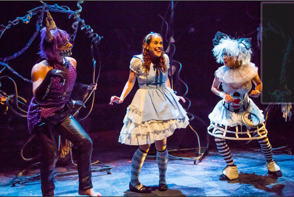 Alex Mills as Cheshire Cat, Kathy Gordon as Alice, Tori Bertocci as White Rabbit. Photo by Johnny Shryock
