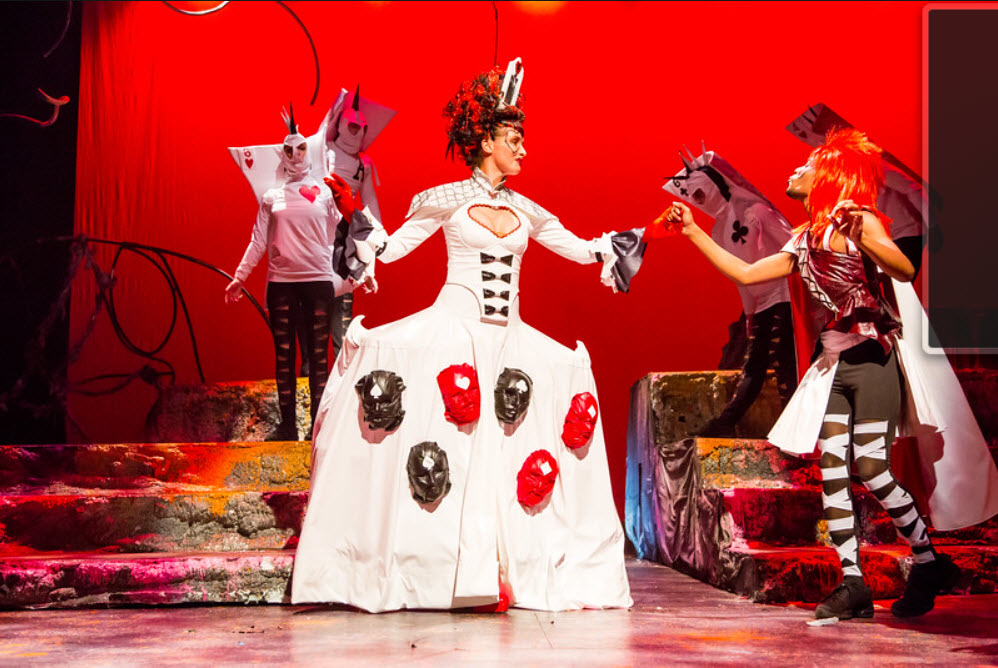 Renata Veberyte Loman as Queen of Hearts, Justin J. Bell as King with Ensemble. Photo by Johnny Shryock.