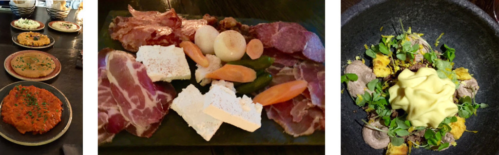 (left-to-right) A selection of Balkan spreads - Charcuterie platter of housemade meats, cheeses and pickled vegetables - Signature dessert - Forest Gnocchi