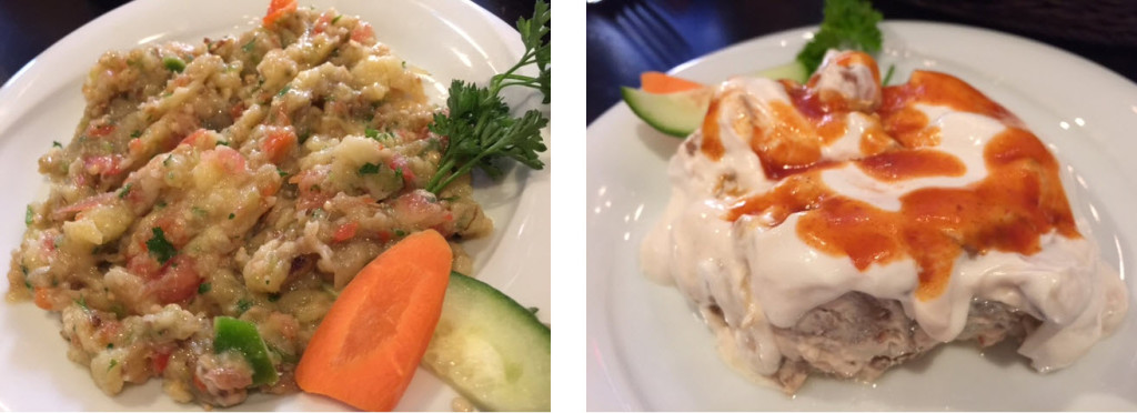 (left-to-right) Havuc Tarama - a spread of carrots, yoghurt and garlic - Kopoglu - sautéed eggplant with yoghurt garlic sauce
