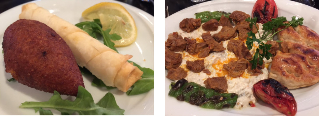 (left-to-right) Icli Kofte and Boregi stuffed with feta cheese and herbs - Ali Nazik - slow-cooked lamb on smoked puréed eggplant. A specialty of the Gaziantep region.