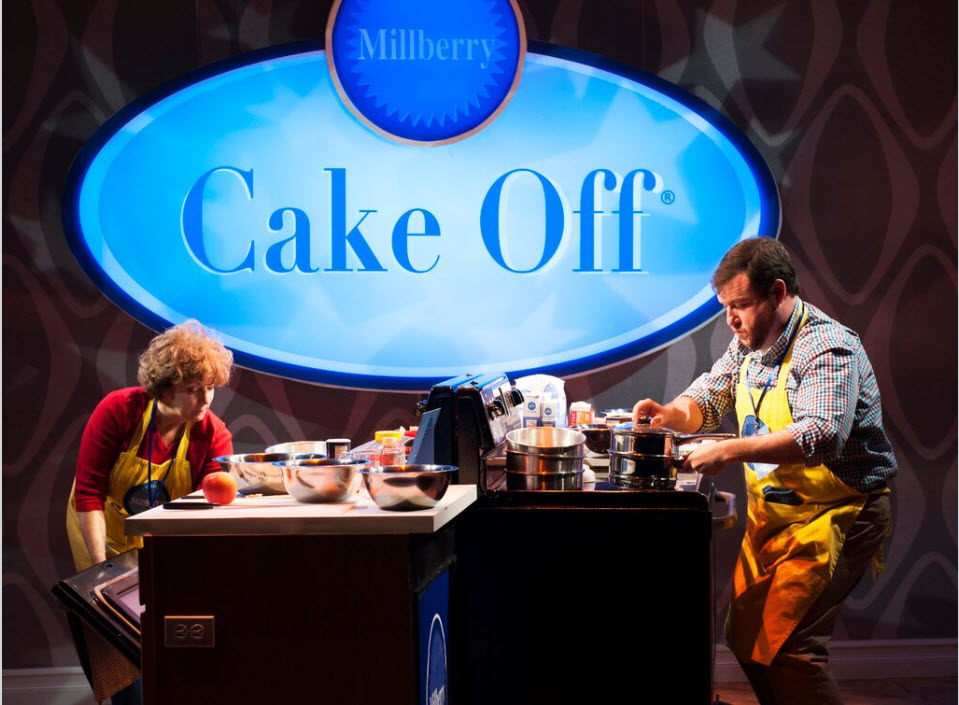 Sherri L. Edelen (Rita Gaw) and Todd Buonopane (Paul Hubbard) in Cake Off at Signature Theatre. Photo by Margot Schulman