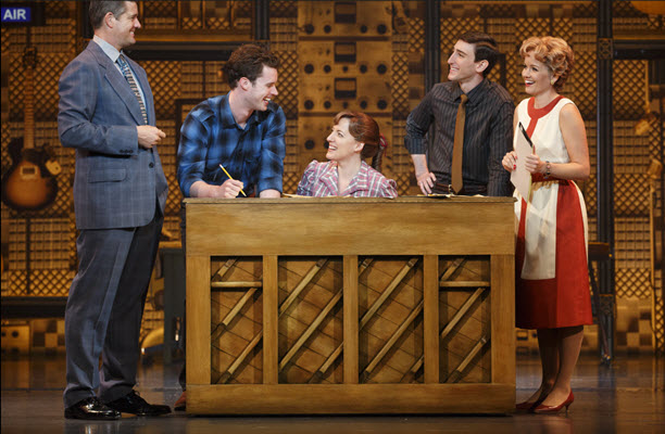 """(l to r) Curt Bouril (""""Don Kirshner""""), Liam Tobin (""""Gerry Goffin""""), Abby Mueller (""""Carole King""""), Ben Fankhauser (""""Barry Mann"""") and Becky Gulsvig (""""Cynthia Weil""""). Photo by Joan Marcus."""