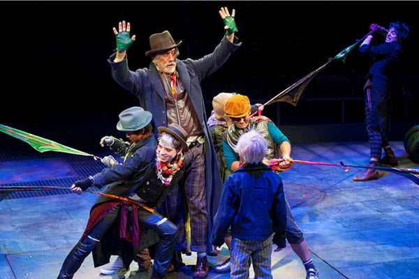 Jeff McCarthy as Fagin and the company of Oliver! at Arena Stage at the Mead Center for American Theater Photo by Margot Schulman.