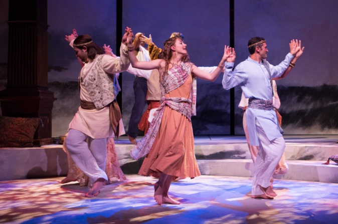 Zlato Rizziolli, Emily Serdahl, Michael Gabriel Goodfriend and others dance during the festivities in Pericles. Photography by Teresa Wood