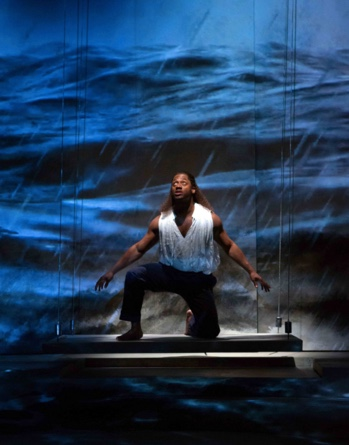 Pericles (Wayne T. Carr) braves out a storm at sea in Pericles. Photography by Teresa Wood