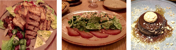 (L to R) Vegetable antipasto - Kale and Gorgonzola salad with poached pears - Bunt - a Piedmontese chocolate terrine