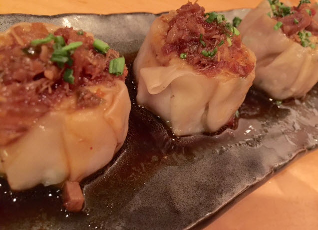 Pork and foie gras shumai dumplings