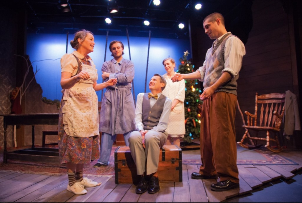 (The cast of Holiday Memories, from left:) Charlotte Akin (Miss Sook), Devon Ross (Man), Christopher Henley (Truman), Liz Dutton (Woman), Séamus Miller (Buddy) - DJ Corey Photography