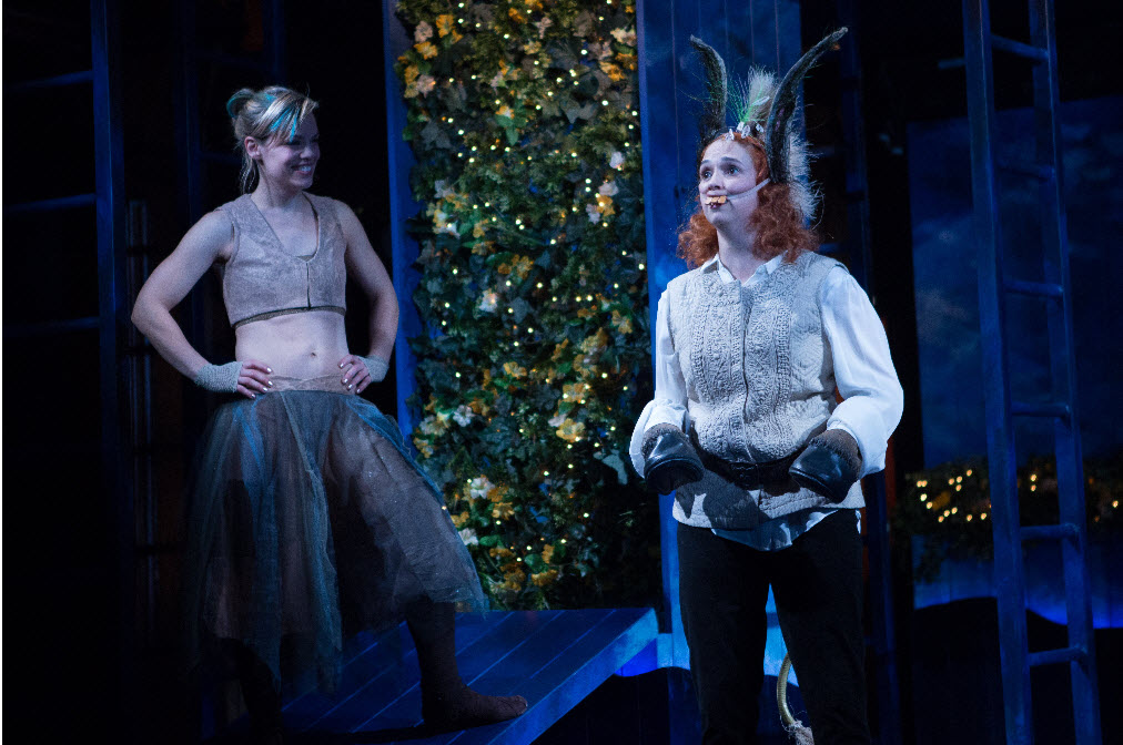 Puck (Erin Weaver, left) looks upon the newly transformed Bottom (Holly Twyford) with impish delight - Photo by Teresa Wood
