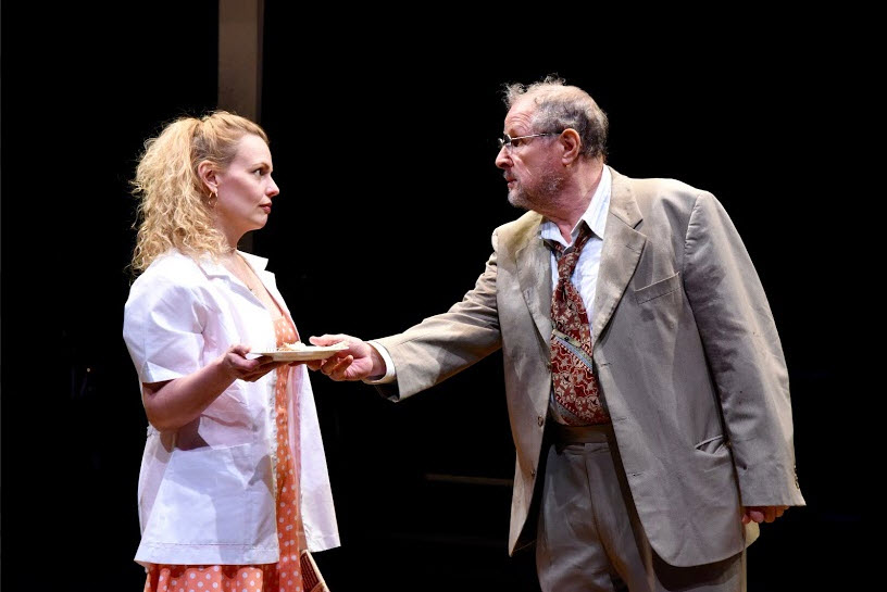 Tonya Beckman as Trudy and Michael Tolaydo as Bernard in After the War at Mosaic Theater Company of DC, March 24-April 17, 2016. Photo by Stan Barouh.