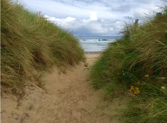 The dunes leading to Ballyhiernan Bay