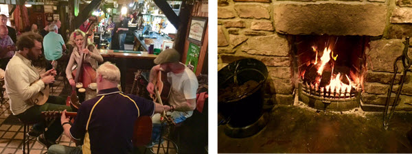 (L-R) A typical jam at The Singing Pub ~ The peat burning fireplace at The Singing Pub