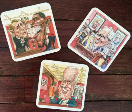 "Matt Weurker's Bernie Sanders coaster, Kevin ""Kal"" Kallaugher's Biden and Obama coasters and Ann Tellnaes' was commissioned to do additional coasters."