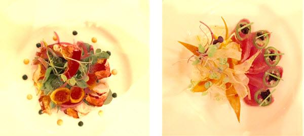 (L-R) Maine Lobster Salad ~ Hamachi Salad