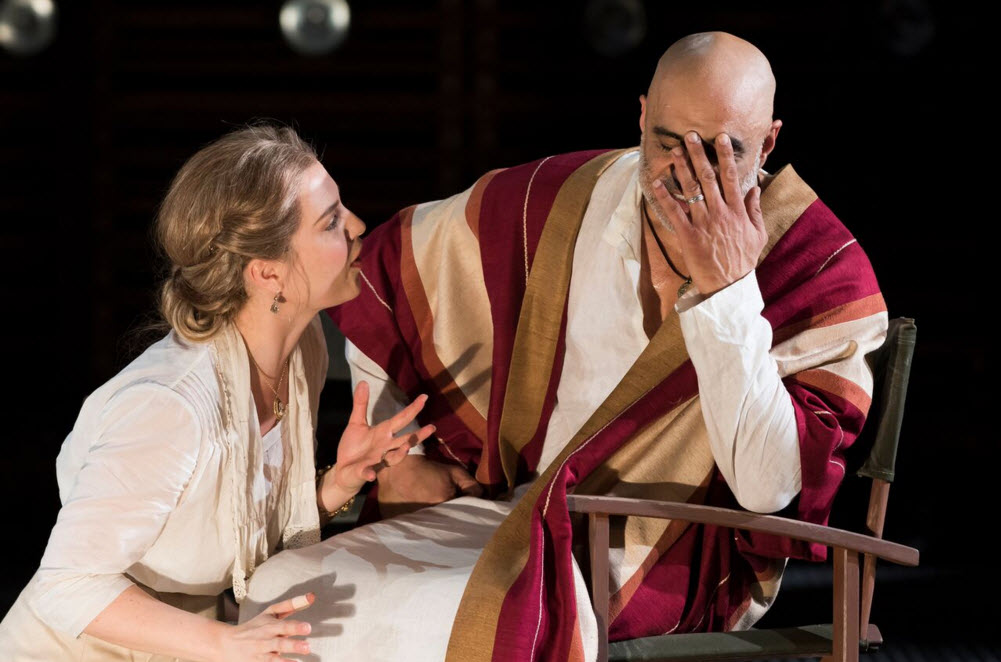 Ryman Sneed as Desdemona and Faran Tahir as Othello in the Shakespeare Theatre Company's production of Othello, directed by Ron Daniels. Photo by Scott Suchman.
