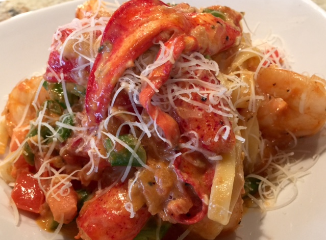 Lobster fettuccine at Burtons Grill & Bar