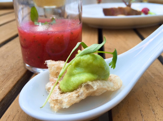 Chicharone with Spring Pea Hummus and Minted Strawberry Gazpacho