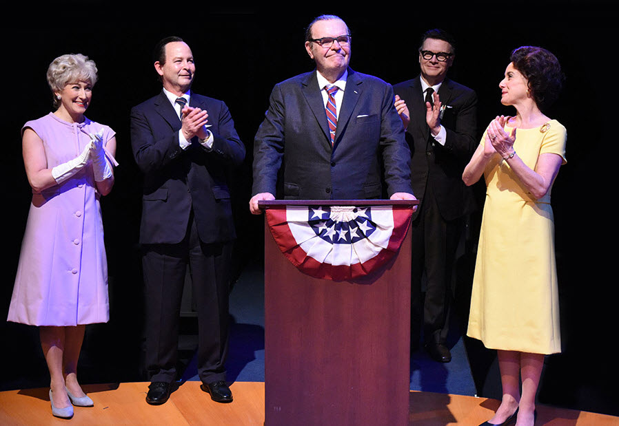 (L to R) Adrienne Nelson as Muriel Humphrey, Richard Clodfelter as Hubert Humphrey, Jack Willis as President Lyndon Baines Johnson, John Scherer as Walter Jenkins and Susan Rome as Lady Bird Johnson. Photo by Stan Barouh.