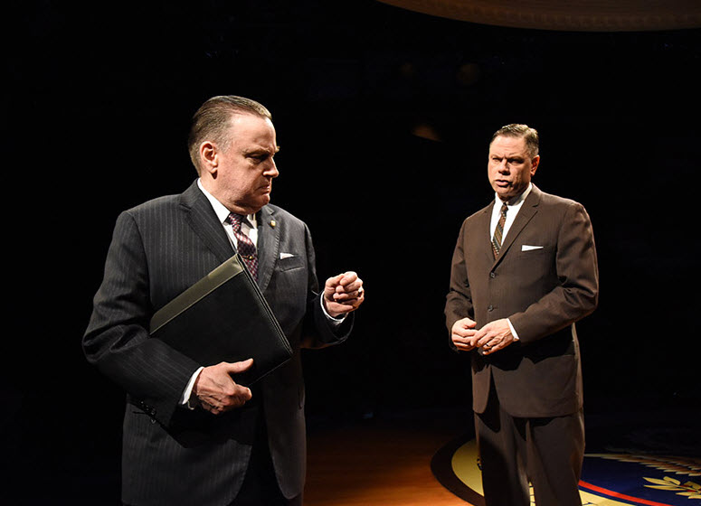 "(L to R) Richmond Hoxie as J. Edgar Hoover and Stephen F. Schmidt as Cartha ""Deke"" DeLoach. Photo by Stan Barouh."