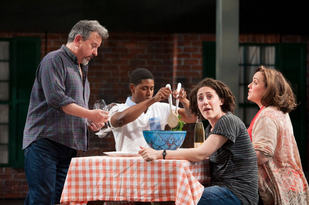 Jeff Still (Howard), Xavier Scott Evans (Jonny), Emily Townley (Lucinda) and Shayna Blass (Charlotte) in The Mystery of Love and Sex at Signature Theatre. Photo by Margot Schulman.