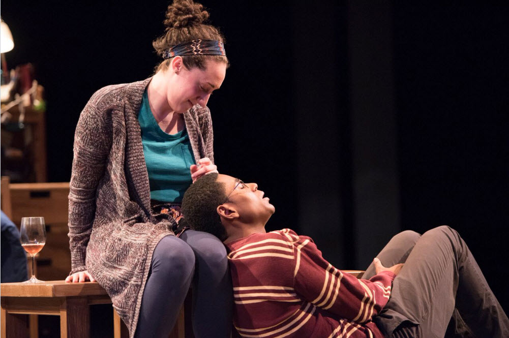 Shayna Blass (Charlotte) and Xavier Scott Evans (Jonny) in The Mystery of Love and Sexat Signature Theatre. Photo by Margot Schulman.