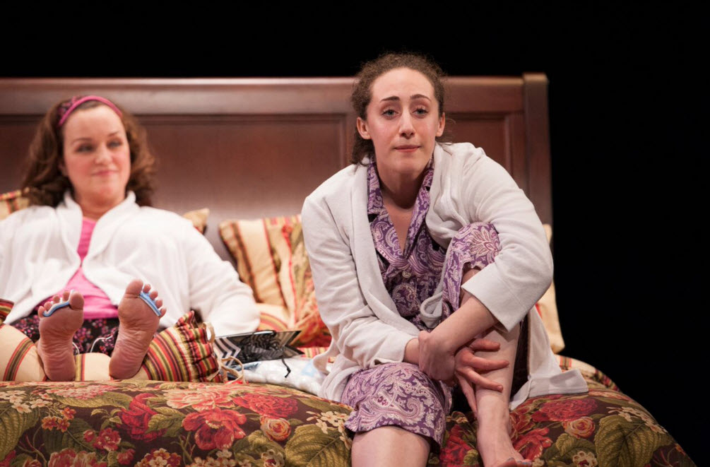 Emily Townley (Lucinda) and Shayna Blass (Charlotte) in The Mystery of Love and Sex at Signature Theatre. Photo by Margot Schulman.