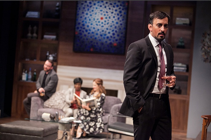 Nehal Joshi as Amir, with Joe Isenberg, Felicia Curry and Ivy Vahanian, in Disgraced at Arena Stage at the Mead Center for American Theater, April 22-May 29, 2016. Photo by C. Stanley Photography.