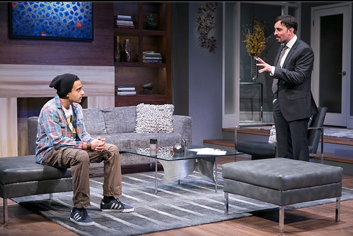 (L to R) Samip Raval as Abe and Nehal Joshi as Amir in Disgraced at Arena Stage at the Mead Center for American Theater, April 22-May 29, 2016. Photo by C. Stanley Photography.