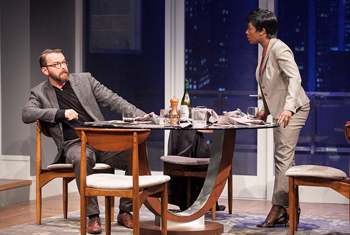 (L to R) Joe Isenberg as Isaac and Felicia Curry as Jory in Disgraced at Arena Stage at the Mead Center for American Theater, April 22-May 29, 2016. Photo by C. Stanley Photography.