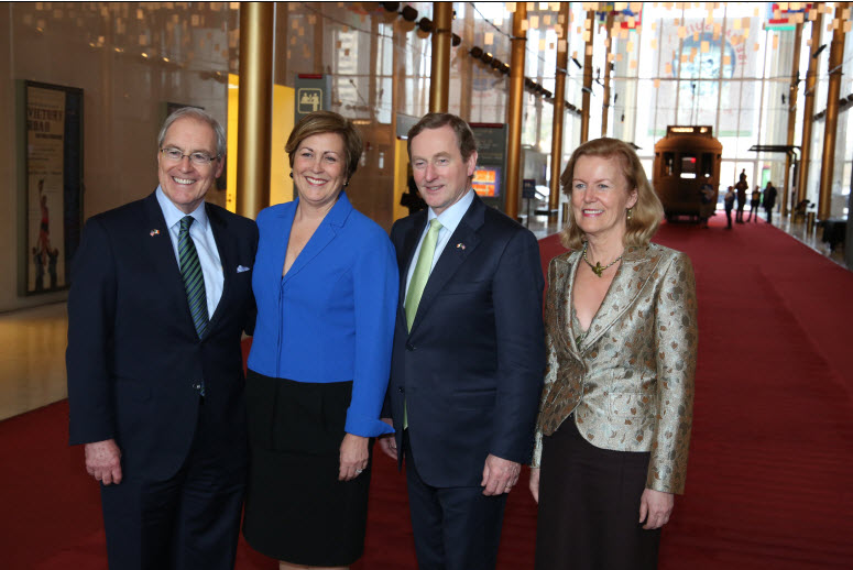 (l-r) Ambassador Kevin O'Malley, USA Ambassador to Ireland - President of the Kennedy Center for the Performing Arts, Deborah Rutter -  Taoiseach Enda Kenny with Ambassador Anne Anderson to USA