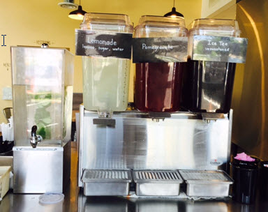 Freshly made lemonade , pomegranate ice tea and a refreshing infusion of mint, lemon and cucumber water are some of the delicious drink selections at Chickpea
