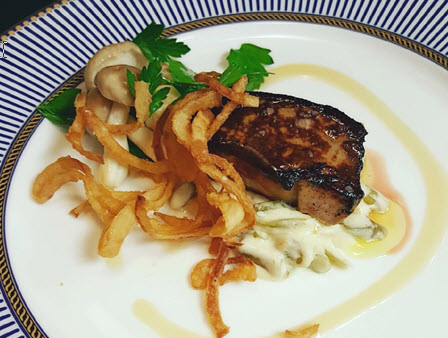 Seared Foie Gras with a side of Green Bean Casserole and Beech Mushroom and Parsley Salad