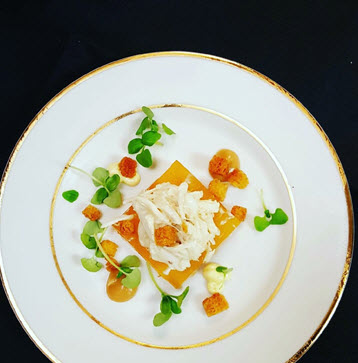 Heirloom Tomato Aspic with Blue Crab