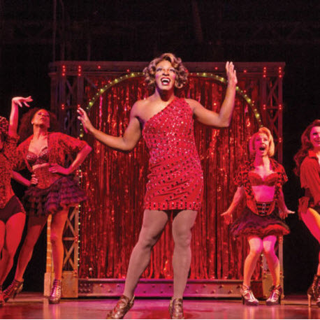 Lola (J. Harrison Ghee) and her Angels in 'Kinky Boots.' Photo by Matthew Murphy.